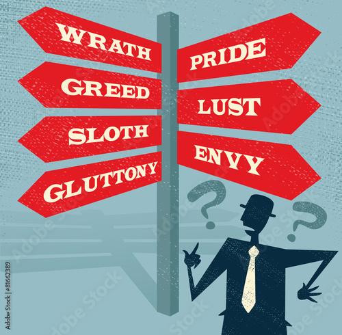 Fotografie, Obraz Abstract Businessman at Seven Deadly Sins Signpost.