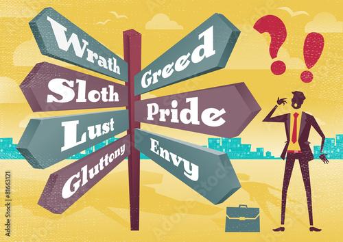 Businessman Contemplates 7 Deadly Sins Sign Post Dilemma. Fototapeta
