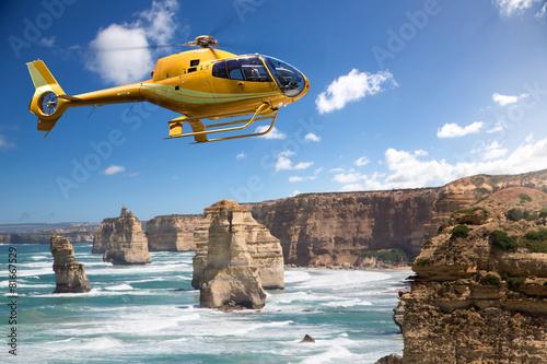 Stampa su Tela Helicopter over the 12 Apostles, Australia