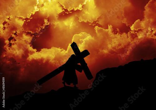 Tela Jesus Christ carrying the cross up Calvary