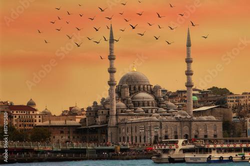 Istanbul Kuppel Sonnenuntergang Möwe skyline Fototapete