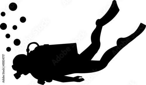 Fotografie, Tablou Scuba diving silhouette