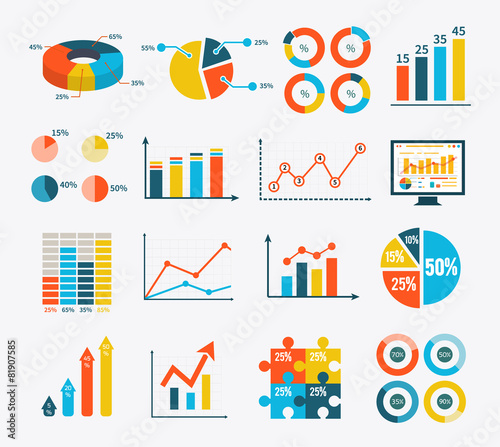 Obraz na płótnie Infographic Set Graph and Charts, Diagrams