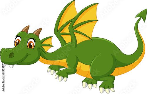 Cartoon green dragon flying