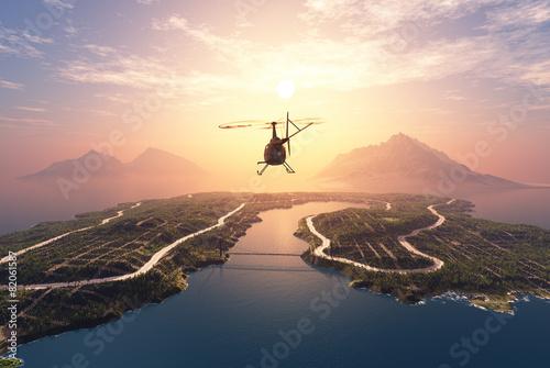 Fototapeta Civilian helicopter