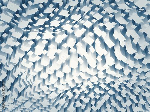 Chaotyczny błękita kwadrata wzór na wyginającej się powierzchni, 3d