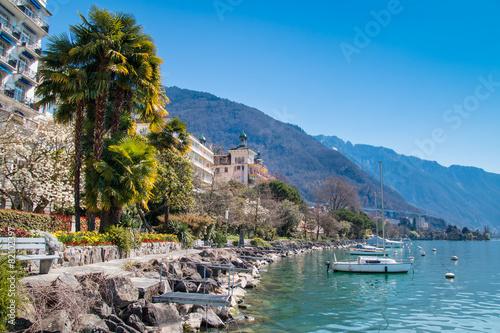 Canvas Print Montreux Riviera of Lake Geneva in Switzerland