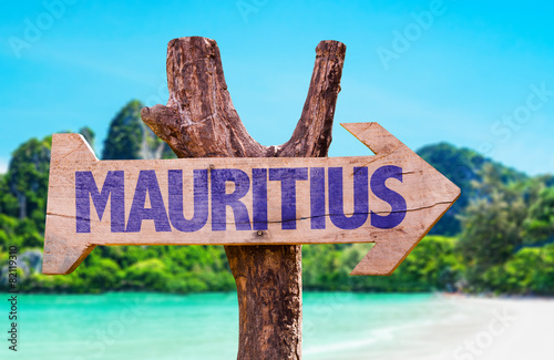 Wallpaper Mural Mauritius wooden sign with beach background