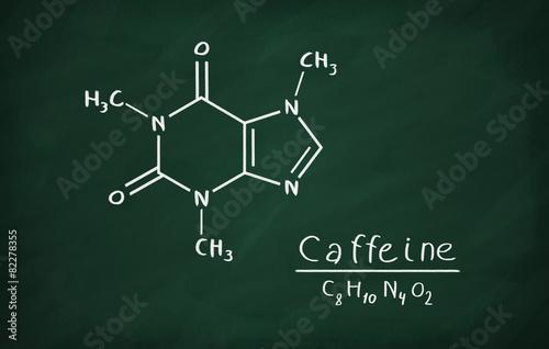Fotografia Chemical formula of Caffeine on a blackboard