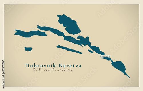 Wallpaper Mural Modern Map - Dubrovnik Neretva HR