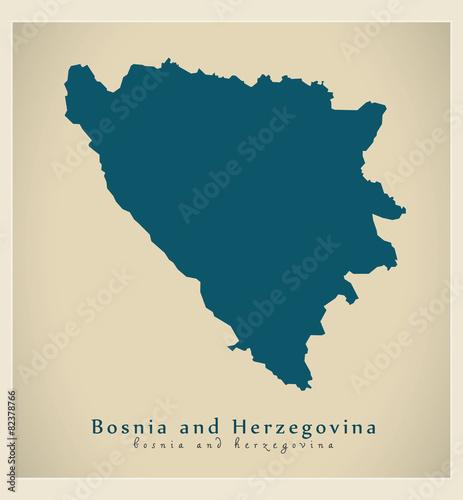 Canvas Print Modern Map - Bosnia and Herzegovina BA