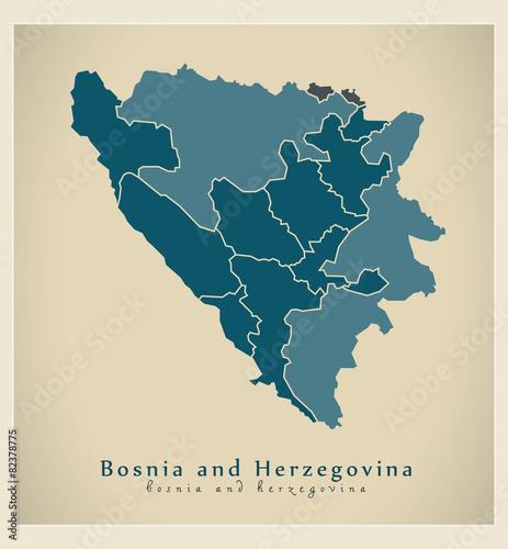Wallpaper Mural Modern Map - Bosnia and Herzegovina with cantons BA