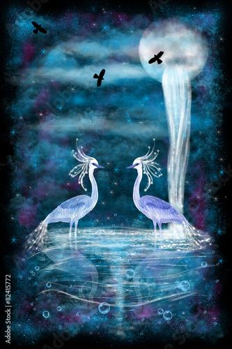 Fantasy two herons #82415772