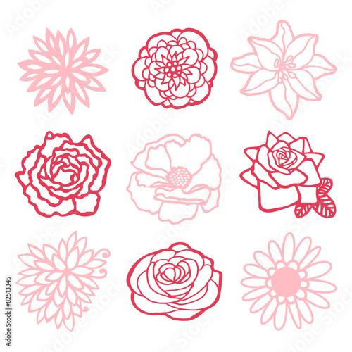 Fotografia, Obraz Sweet Floral Line Art Drawing