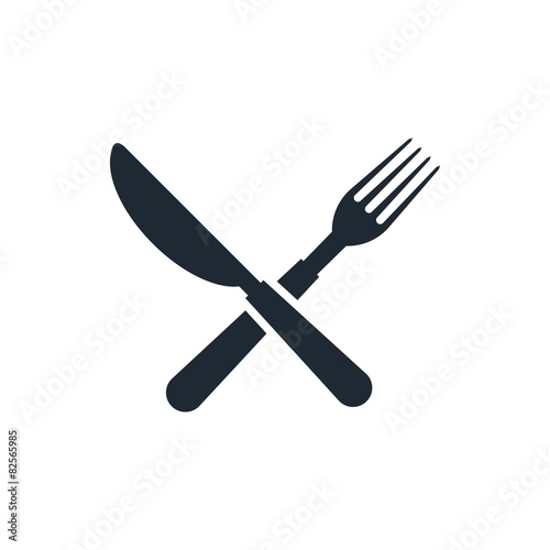 Fototapeta icon fork and knife sign