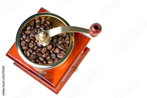 Tablou Canvas Coffee grinder isolated on white, top view