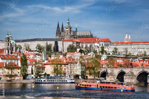 Obraz na plátně Prague Castle with famous Charles Bridge in Czech Republic