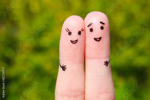 Carta da parati Finger art of a Happy couple. A man and a woman hug