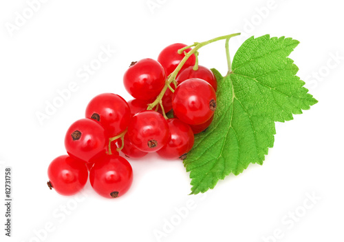 Wallpaper Mural Ripe redcurrant with green leaf (isolated)