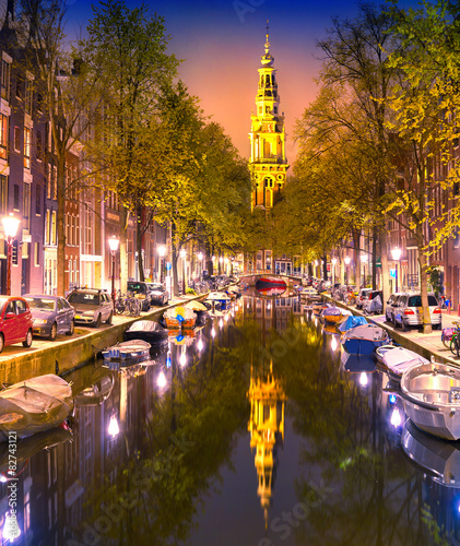 South Church Zuiderkerk and Amsterdam Canals at dusk