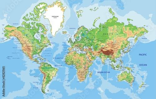 Fototapeta premium Bardzo szczegółowa fizyczna mapa świata z etykietami.