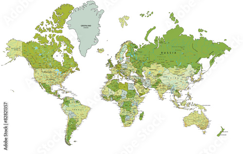 Highly detailed political World map with labeling.