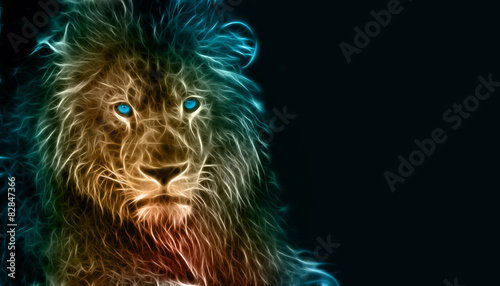 Fototapeta premium Fantasy cyfrowa sztuka lwa