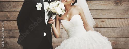 Stampa su Tela Wedding picture of happy bride.