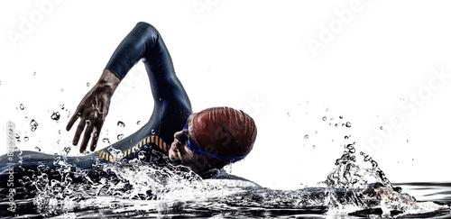 Canvas Print man triathlon iron man athlete swimmers swimming