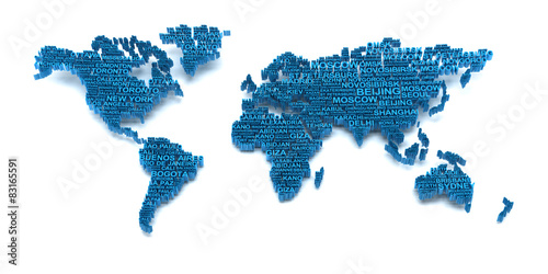 World map formed by words #83165591