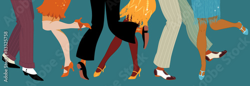 Fototapeta premium Nogi ludzi tańczących w ubraniach 1920 roku