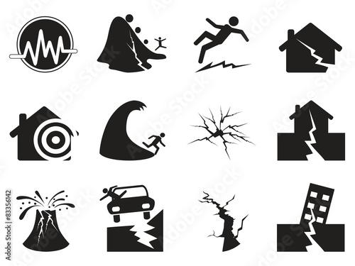 Slika na platnu black earthquake icons set