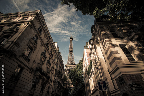 Low angle view of Eiffel Tower #83532388
