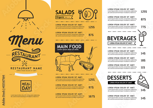 Carta da parati hipster and vintage art restaurant menu design template.