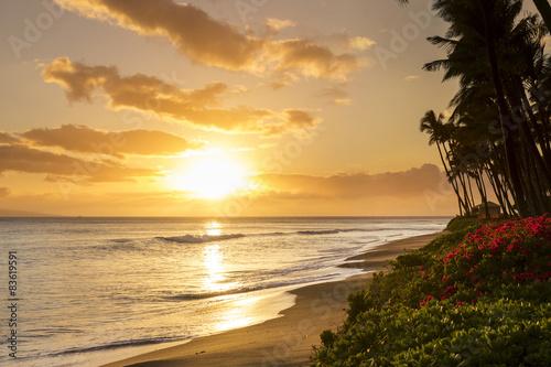 Stampa su Tela Tropical sunset on Kaanapali Beach in Maui, Hawaii.