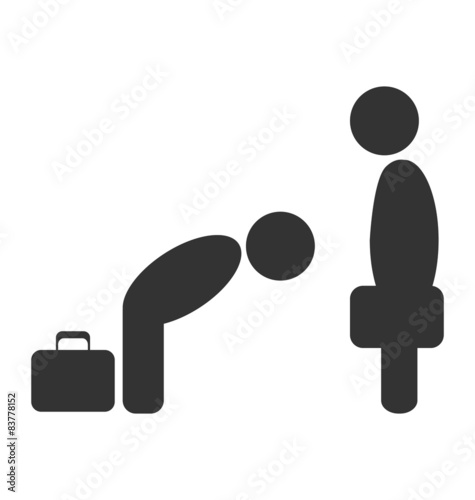 Cuadros en Lienzo Greeting etiquette business situation icon isolated on white bac