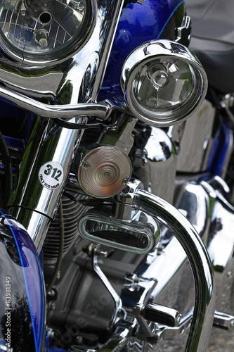 Blue custom motorcycle chrome details