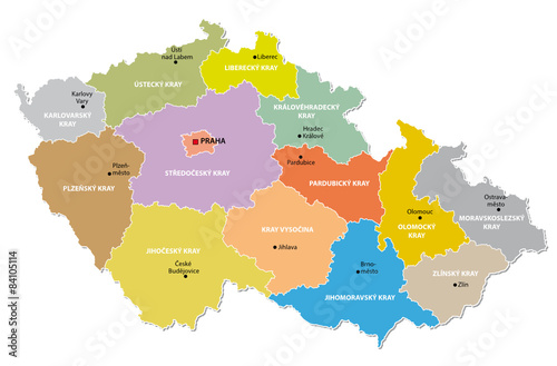 Canvas Print czech republic administrative map