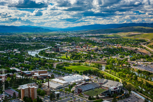 Wallpaper Mural View of Missoula from Mount Sentinel, in Missoula, Montana.