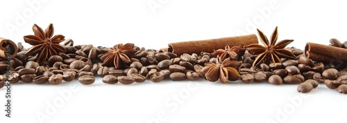 Scattered coffee beans in line on white #84266938