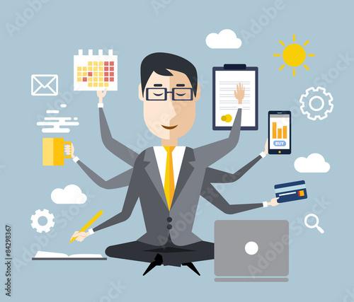 Obraz na płótnie Businessman With Multitasking