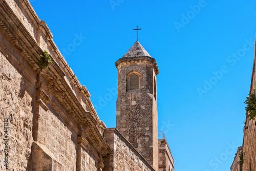 Photo Church of the Flagellation Tower, Station II on Via Dolorosa, Jerusalem Old City