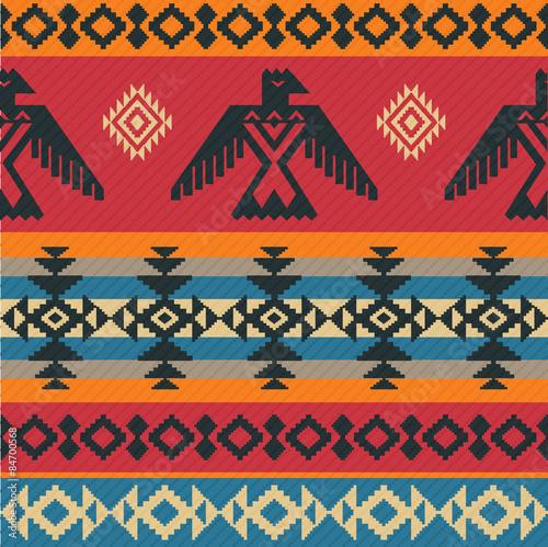 Fotografie, Obraz Eagles ethnic pattern on native american style