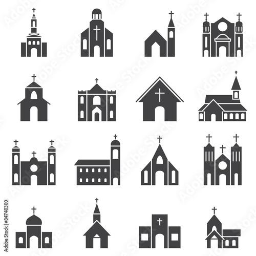 church building icon vector set Fototapeta