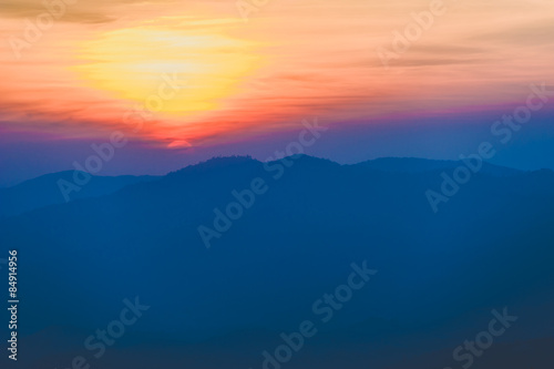 Sun set behind the moutain
