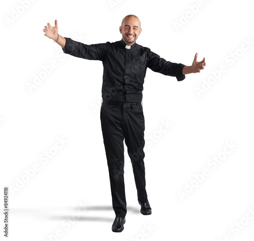 Obraz na plátne Cheerful priest