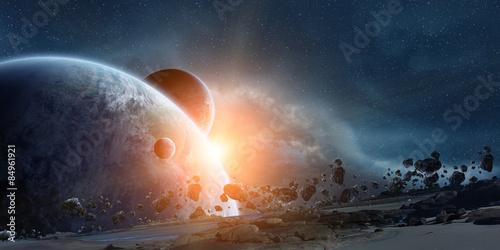 Slika na platnu Sunrise over planet Earth in space