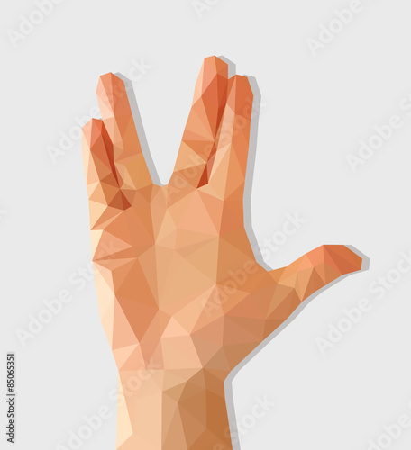 Fotografia polygon hand raised with palm forward divorced middle and ring f