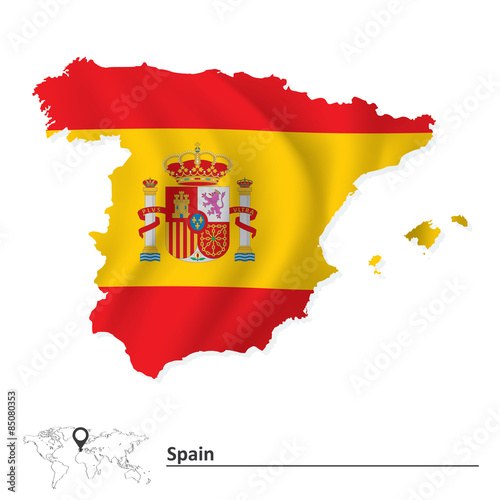 Wallpaper Mural Map of Spain with flag