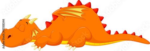 Cute dragon cartoon sleeping